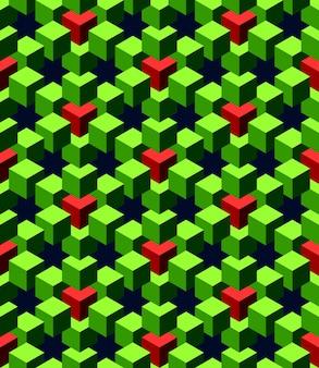 Cubos abstratos verdes e vermelhos com fundo azul profundo