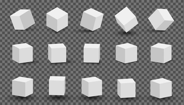 Cubos brancos realistas com iluminação e sombras diferentes