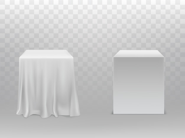 Cubos brancos realistas, um bloco coberto com pano de seda