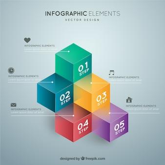 Cubos coloridos infográfico