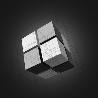Cubos com linhas pretas. .
