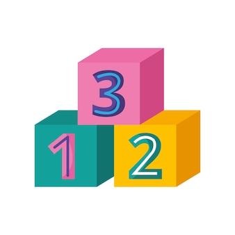 Cubos de brinquedo com desenhos animados de números isolados sobre fundo branco. ilustração vetorial