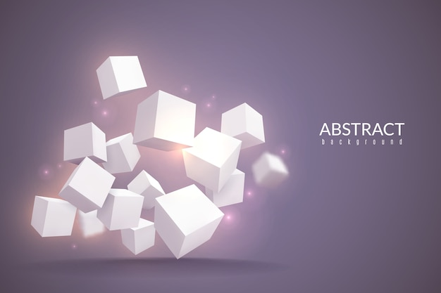 Cubos de fundo. cartaz digital com cubos geométricos. blocos brancos em perspectiva, conceito rotativo de estoque de produto de estrutura de tecnologia de conexão de internet