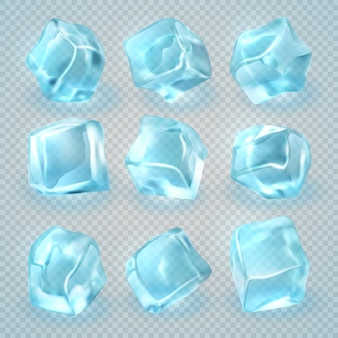 Cubos de gelo 3d realistas isolados no fundo transparente.