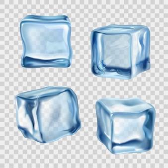Cubos de gelo azul transparente