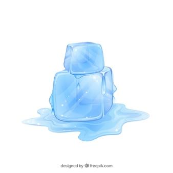 Cubos de gelo derretendo com design plano