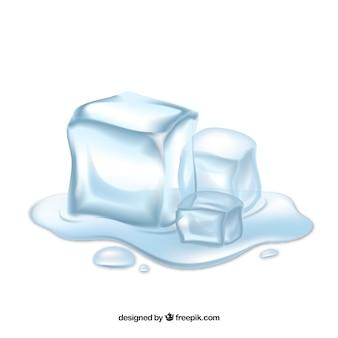 Cubos de gelo derretendo com estilo realista