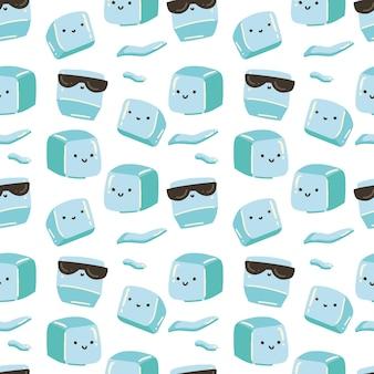 Cubos de gelo fofos rabiscam padrão uniforme