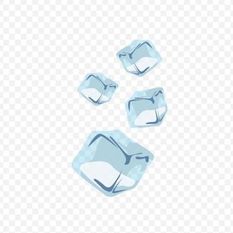 Cubos de gelo isolados em ilustração de fundo transparente.