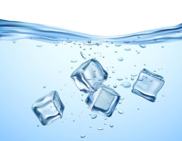 Cubos de gelo na água