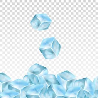 Cubos de gelo realista sobre um fundo transparente.