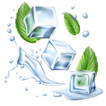 Cubos de gelo realistas com folhas verdes de hortelã