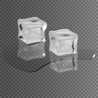 Cubos de gelo realistas em um fundo transparente, derretendo na água.