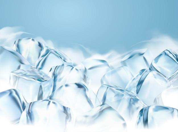 Cubos de gelo transparentes com efeito especial embaçado na ilustração 3d, fundo congelado para uso em design