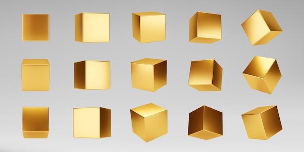 Cubos metálicos de ouro 3d definidos isolados em cinza