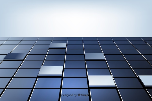 Cubos reflexivos realistas andar fundo