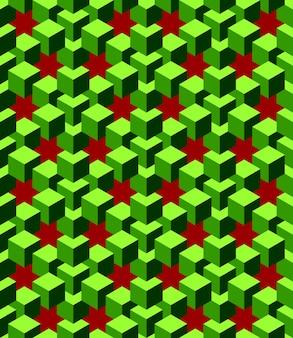 Cubos verdes abstratos com fundo vermelho