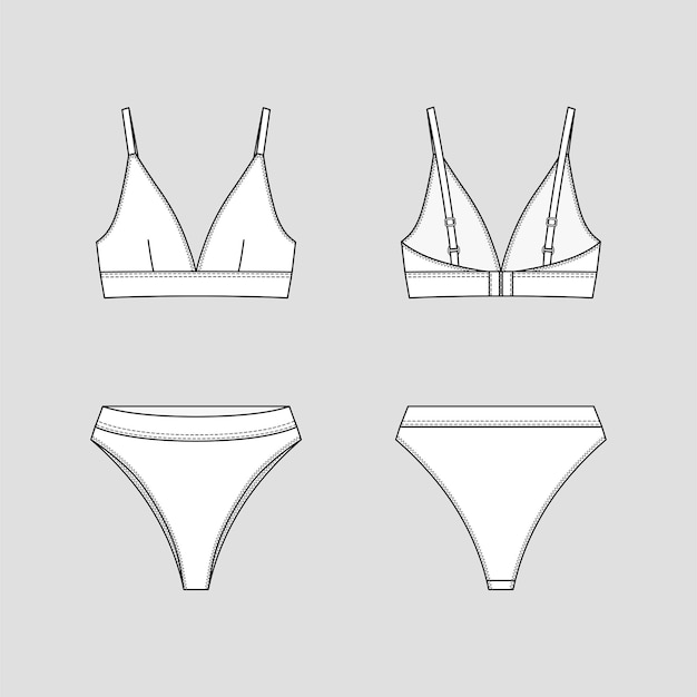 Cueca brasileira e sutiã com copas triangulares. conjunto de lingerie.