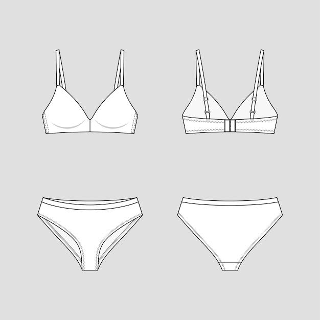 Cueca hipster e sutiã básico. conjunto de lingerie.