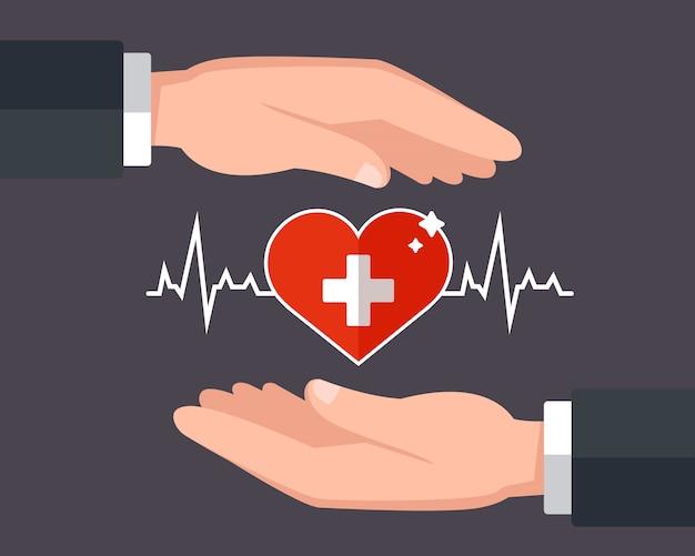 Cuida de sua saúde. seguro de vida. ilustração