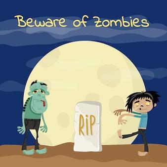 Cuidado com o cartaz de zumbis com monstros mortos-vivos