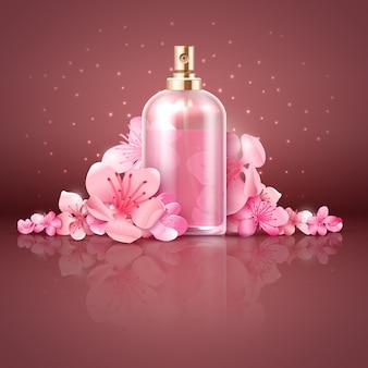 Cuidado com produto orgânico de pele com ilustração em vetor flores de cerejeira sakura japonesa