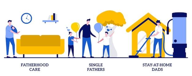 Cuidado da paternidade, pais solteiros, conceito de pais que ficam em casa com pessoas minúsculas. papai, gastando tempo com o conjunto de ilustração vetorial abstrato de criança. homens tirando licença paternidade, metáfora do cuidado infantil.