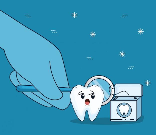 Cuidado dentário com espelho bucal e fio dental