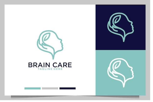 Cuidado do cérebro com design de logotipo de arte de linha de mão e folha