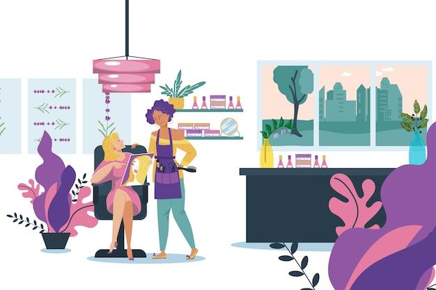Cuidado do cliente da menina sobre o cabelo no salão de beleza, ilustração. cabeleireiro profissional, menina dos desenhos animados com caráter de cabeleireiro