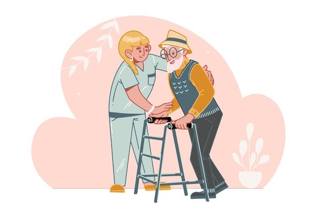 Cuidado do idoso. uma assistente social ou voluntária ajuda um homem mais velho a andar. ajuda e cuidado para idosos com deficiência em uma casa de repouso.