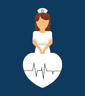 Cuidado do pulso da pulsação da enfermeira