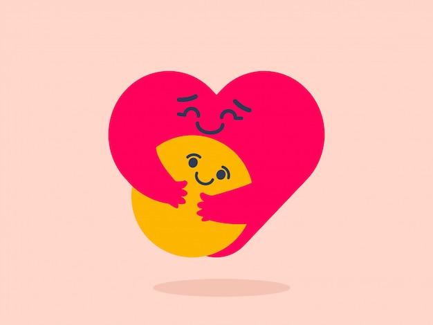 Cuidado emoji abraçando emot
