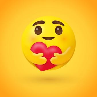 Cuidado emoji abraçando um coração vermelho