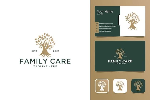 Cuidado familiar com elegante design de logotipo em árvore e cartão de visita