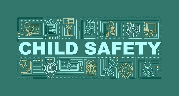 Cuidado infantil, ilustração de banner de conceitos de palavras de segurança