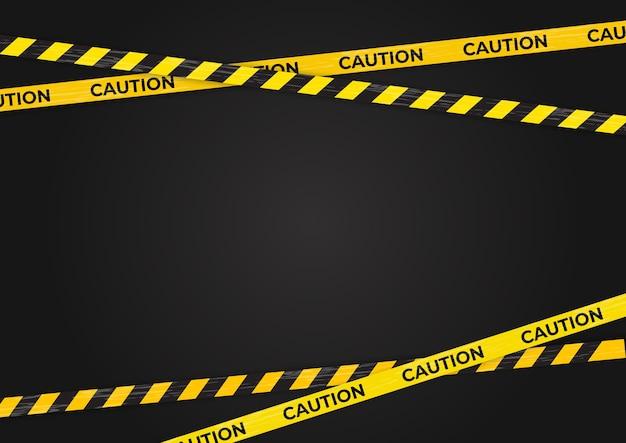 Cuidado, linhas de aviso, fundo de sinais de perigo