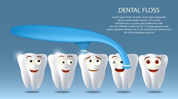 Cuidado oral, fio dental vetor cartaz banner modelo feliz desenho animado dentes com fio dental palito garoto de ...