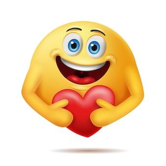 Cuidado personagens emoticon com abraçando um coração vermelho