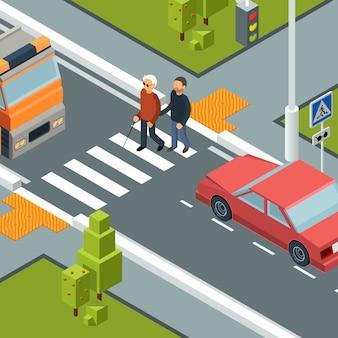 Cuidado pessoa atravessando a rua. faixa de pedestres urbana da cidade de homem com deficiência isométrica com ajudante