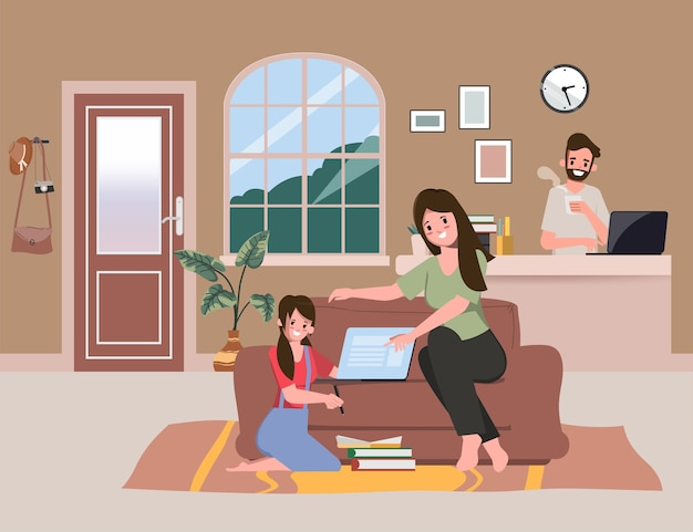 Cuidadores familiares mantendo as crianças aprendendo em casa. fiquem em casa e trabalhem juntos em casa.
