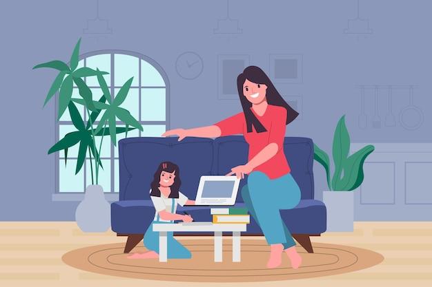 Cuidadores familiares mantendo as crianças aprendendo em casa.