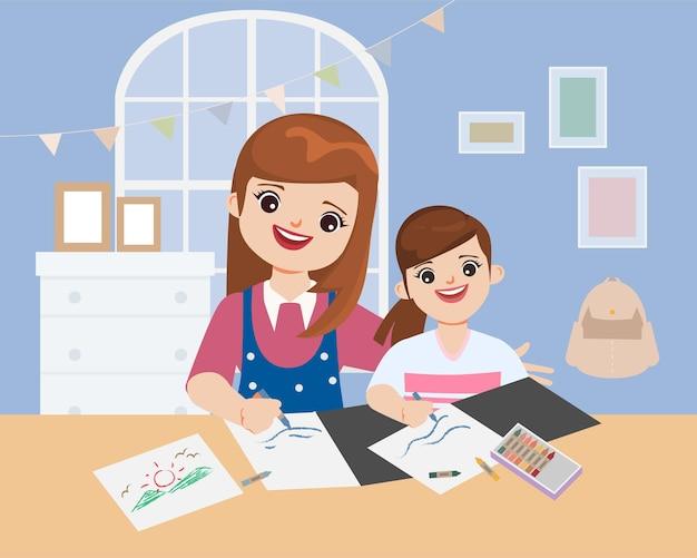 Cuidadores familiares que mantêm as crianças aprendendo em casa