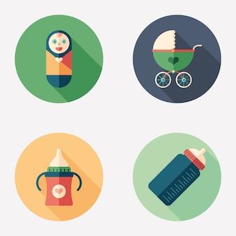 Cuidados ao recém-nascido plano redondo conjunto de ícones.