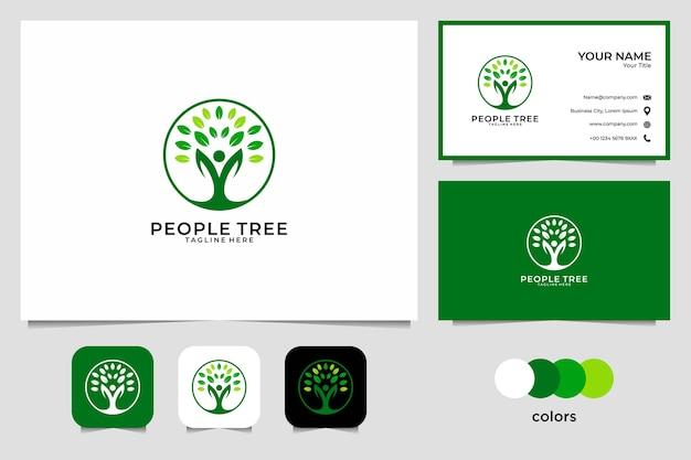 Cuidados com a paisagem com pessoas e design de logotipo de árvore e cartão de visita
