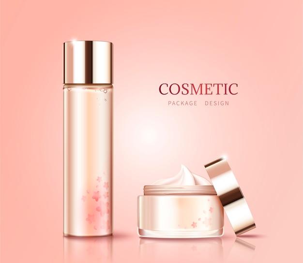 Cuidados com a pele da flor de cerejeira em branco em estilo 3d