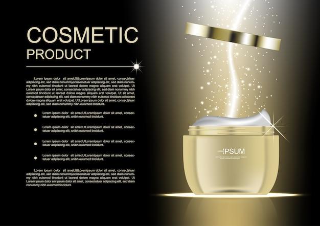 Cuidados com a pele de produtos cosméticos com fundo de brilho