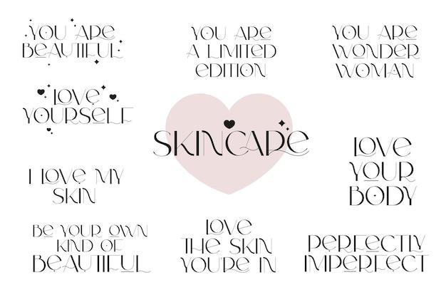 Cuidados com a pele e ame-se citações positivas ilustração vetorial de consciência de mulher para salão de beleza