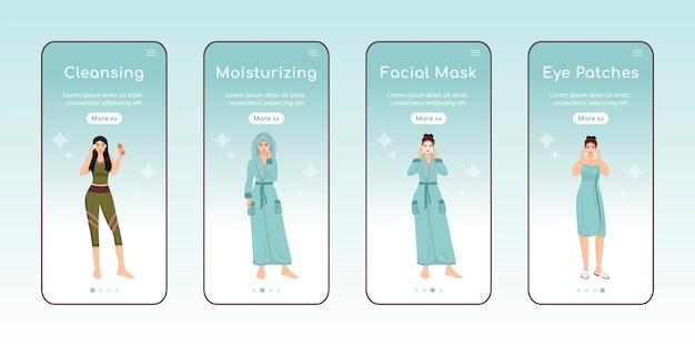 Cuidados com a pele etapas onboarding app móvel tela plana modelo.