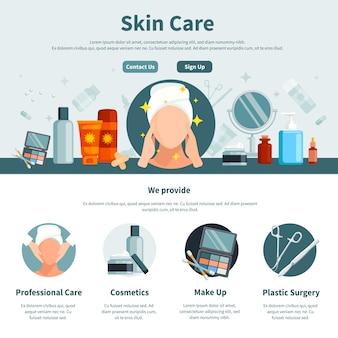 Cuidados com a pele uma página plana para web design com informações de contato profissional e maquiagem